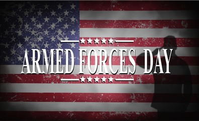 ARMED FORCES DAY , Poster with USA flag