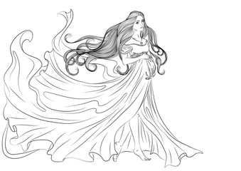 Illustration of a pregnant young girl in a long fluttering dress and with long hair. Vector line art isolated on white background