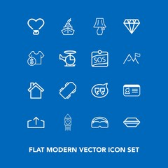 Modern, simple vector icon set on blue background with tower, light, lamp, jewelry, food, bun, speech, gem, telephone, chat, bubble, web, extreme, board, document, name, mobile, switch, big, id icons