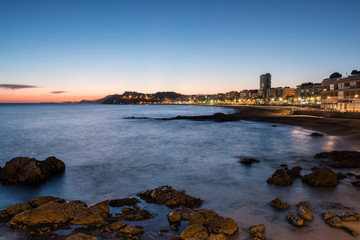 Fotomurales - Landscape of Lloret de Mar beach at night