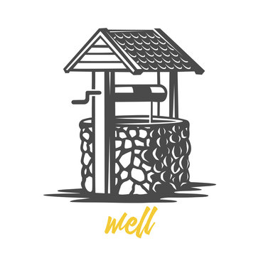Wooden water well. Black and white illustration.