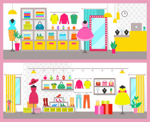 Pair of Colorful Cards with Bright Clothes Shops