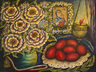 Still Life with Flowers and Easter eggs (oil on canvas)