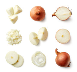 Set of fresh whole and sliced onions