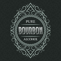 Bourbon pure alcohol label design template. Patterned vintage frame with text on pattern background.