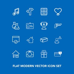 Modern, simple vector icon set on blue background with handle, profile, sign, cash, network, material, architecture, property, house, arrow, direction, bank, box, video, note, construction, home icons