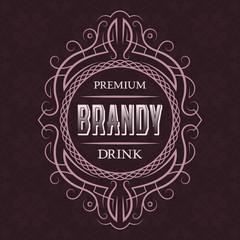 Brandy premium drink label design template. Patterned vintage frame with text on pattern background.