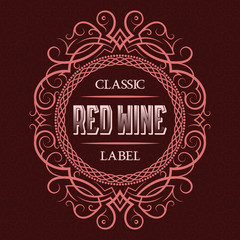 Red wine classic label design template. Patterned vintage frame with text on pattern background.