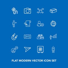 Modern, simple vector icon set on blue background with fun, joy, magnetic, development, photo, safety, camera, sky, lock, business, clock, kite, coupon, computer, email, technology, science, ben icons