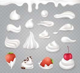 Whipped Cream with Sweet Fruits and Dark Chocolate