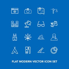 Modern, simple vector icon set on blue background with adventure, web, clothing, uniform, medical, window, care, chart, bellhop, wear, internet, business, doctor, travel, nature, tent, service icons