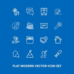 Modern, simple vector icon set on blue background with monitor, bubble, war, mountain, sky, weapon, estate, cell, speech, money, folder, real, internet, technology, home, computer, falling, file icons