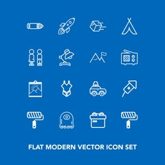 Modern, simple vector icon set on blue background with background, festival, tent, gun, package, paint, shipping, car, cartoon, fashion, brush, blank, picture, tool, shipment, luggage, travel icons