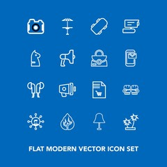 Modern, simple vector icon set on blue background with boxing, tropical, tree, photo, technology, notebook, announcement, bar, cafe, light, sound, lamp, display, speaker, photography, glove, pub icons
