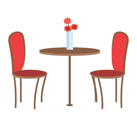 Empty Restaurant Table with Three Flowers in Vase