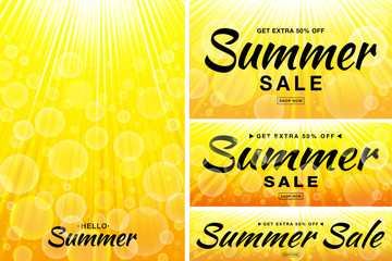 Summer sale template banners. Sun rays backgrounds. Glow horizontal and vertical sunlight yellow backdrop. Sunshine glare heat with flash rays and bubbles borders.  Vector illustration.
