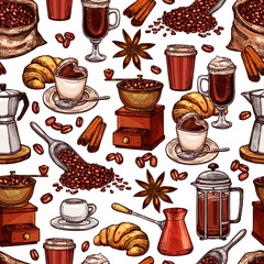 Coffee Attributes Color Hand Drawn Seamless Pattrn. Coffee Sketch Background