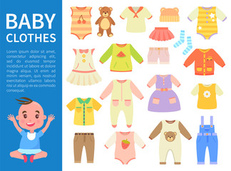 Baby Clothes Color Banner Vector Illustration
