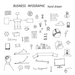 Set of hand drawn business concepts icons