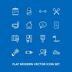 Modern, simple vector icon set on blue background with location, mexico, exercise, sport, sea, spatula, military, beach, plan, frame, spice, pin, picture, task, clean, office, blank, paintbrush icons