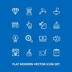 Modern, simple vector icon set on blue background with picture, cell, , time, award, cash, hour, pen, jewelry, search, sand, first, photo, frame, technology, water, home, money, phone, timer icons
