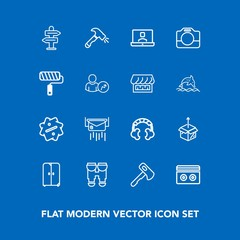 Modern, simple vector icon set on blue background with camera, home, message, travel, cardboard, mail, cupboard, unpacking, screwdriver, handle, package, technology, label, music, sign, envelope icons