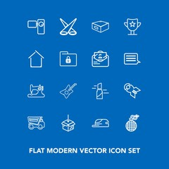 Modern, simple vector icon set on blue background with music, weapon, spotlight, light, makeup, award, musical, vehicle, lipstick, package, scene, red, dumper, machine, web, video, hat, beauty icons