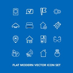 Modern, simple vector icon set on blue background with nation, record, tool, gramophone, chat, hygiene, home, health, vintage, ball, national, sunglasses, house, sport, parachute, pin, glasses icons