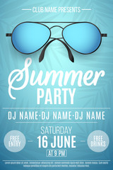 Poster for a Summer Party. Colorful beach sunglasses on a blue background with palm trees. The names of the club and DJ. Summer disco flyer. Vector illustration