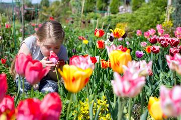 cute child smelling tulip in a beautiful garden