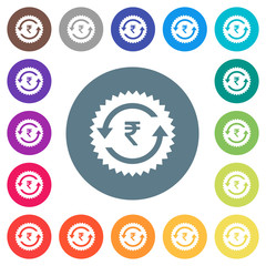 Rupee pay back guarantee sticker flat white icons on round color backgrounds