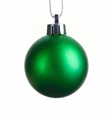 Green christmas ball isolated on white