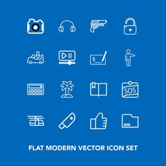Modern, simple vector icon set on blue background with document, sky, train, paper, audio, web, firearm, photographer, camera, sign, label, click, meat, cut, book, sound, internet, calculator icons