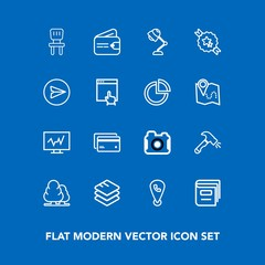 Modern, simple vector icon set on blue background with card, comfortable, photography, debit, information, construction, location, wallet, purse, chair, lamp, phone, finance, cash, light, nature icons