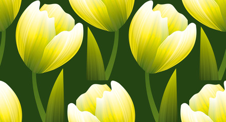 yellow and green realistic flower tulip.