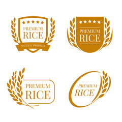brown paddy paddy rice premium organic natural product banner logo sign vector design