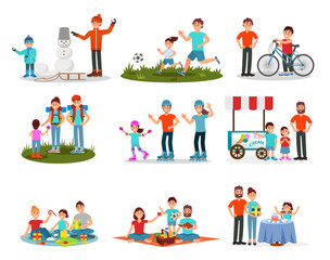 Flat vector set of parents with kids in different actions. Family leisure. Active outdoor recreation. Birthday celebration