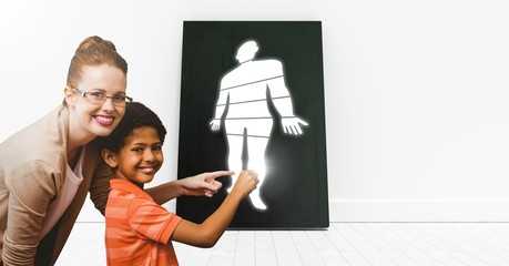 Educational Human Body sections icon an teacher with pupil
