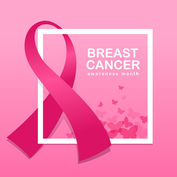 Breast cancer awareness banner with pink ribbon around white frame and butterfly on pink background vector design