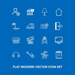 Modern, simple vector icon set on blue background with digital, medical, care, screen, doctor, delete, gramophone, photo, lamp, record, account, music, display, retro, nurse, blank, rod, sound icons