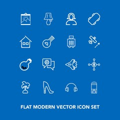 Modern, simple vector icon set on blue background with sound, money, female, finance, picture, switch, chat, table, music, hotel, jetliner, travel, bulb, blank, leaf, technology, room, aircraft icons