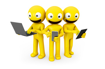 three yellow characters using devices