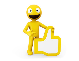 yellow character with approval icon