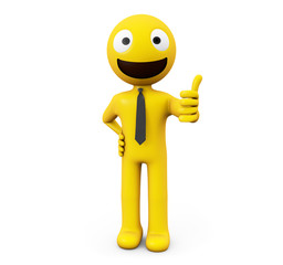 yellow character approving