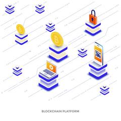 Flat color Modern Isometric Illustration - Blockchain platform