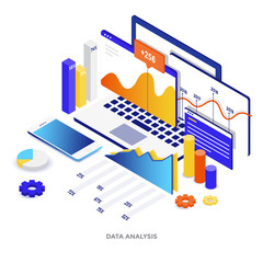 Flat color Modern Isometric Illustration - Data Analysis