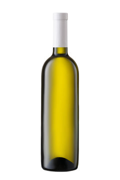 Front view  white wine blank bottle isolated on white background