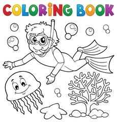 Coloring book boy snorkel diver