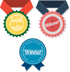 Winner and best 2019 awards isolated on white.