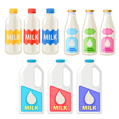 Milk bottles and jugs icons set.